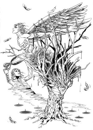 树丛园林景观手绘线稿