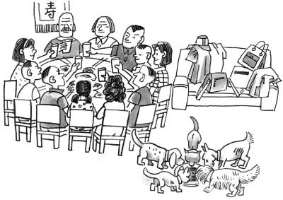 聚餐简笔画_野外聚餐_过年聚餐
