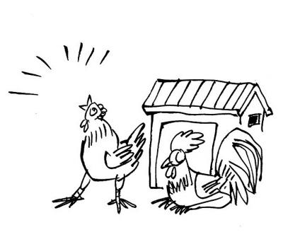 公鸡打鸣简笔画-讽刺与幽默
