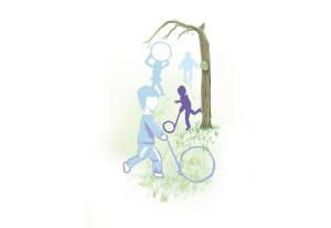 推铁环又叫滚铁环,它是对小孩耐心和平衡技巧的考验.手握一只铁钩图片