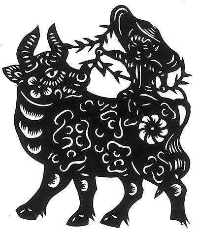 财气牛(民间剪纸)