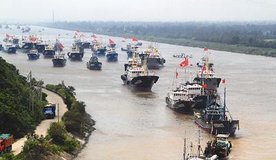 """8月9日中午,台风""""海葵""""过后,浙江省台州市路桥区金清港内的200多艘"""