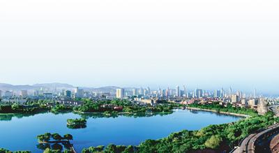 济南市大明湖鸟瞰