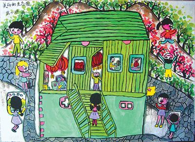 绿色的画儿童画图片