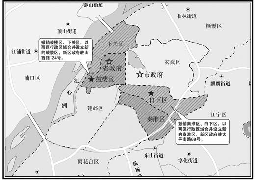 南京行政区划调整 白下、下关区...