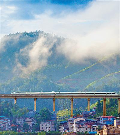 高铁动车风景图片