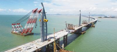 图为去年6月大桥主体桥梁合龙现场.-风起正是扬帆时 港澳在线