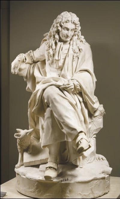 图为法国皮埃尔·朱利安《让·德·拉封丹大理石雕像》.