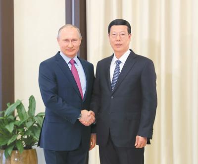 张高丽会见普京总统并出席中俄双边合作机制会议