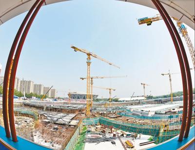 北京冬奥在建项目设置倒计时牌