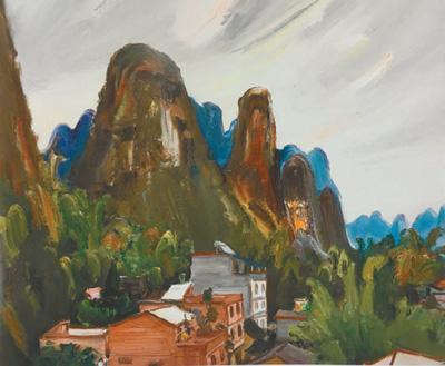 油画作品:遇龙河的乡村