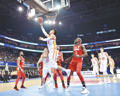 男篮世界杯亚洲区预选赛:中国队战胜黎巴嫩队