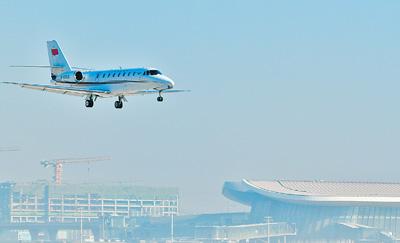 北京新机场迎首架飞机 校验任务圆满完成