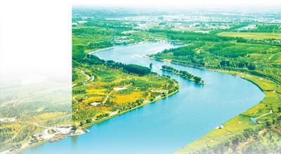 北京通州大运河森林公园俯瞰.