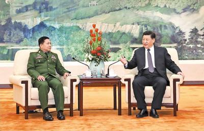 習近平會見緬甸國防軍總司令敏昂萊