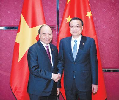 李克强分别会见越南总理阮春福、老挝总理通伦、柬埔寨首相洪森、联合国秘书长古特雷斯
