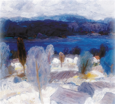 蓝色的江南风景(油画)