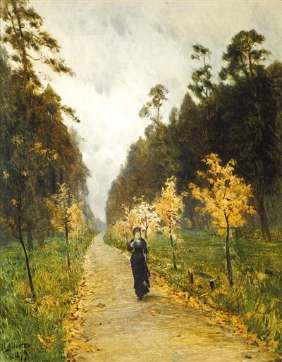 喂鸽子的女孩(油画)瓦西里·尼古拉耶维奇·巴克舍耶夫