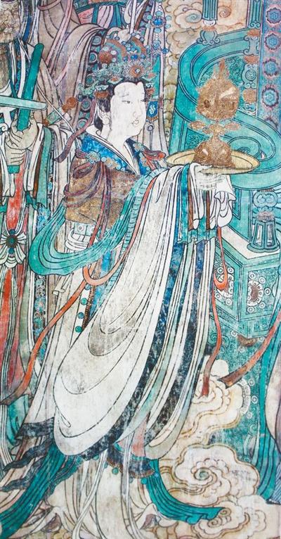 """永乐宫会记得他(书人书事) 白 兰 《 人民日报 》( 2017年02月21日   24 版)             山西芮城的永乐宫,每一年都会迎来无数世界各地的游客。那宏伟精美的建筑以及殿堂里完整而生动的元代壁画声名远播。布满主殿三清殿、面积超过400平方米、按仪仗形式徐徐排列的近300个人物组成的""""朝元图"""",让多少人魂牵梦萦。    气势浩大的构图与每一个人物栩栩如生的表情、富于变化的衣饰相得益彰。尤其是那一笔笔浓淡不同却相当准确表现出衣纹转折和人物肢体语言的、游丝一般的线条,迎风而动,飘逸自如, - weicuibai65 - 雕龙绣凤"""