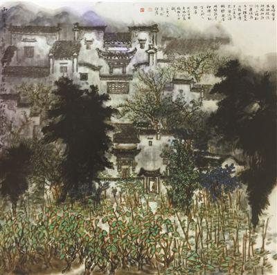 黟县春晓(中国画)  刘文东 《 人民日报 》( 2017年04月24日   24 版) - weicuibai65 - 雕龙绣凤