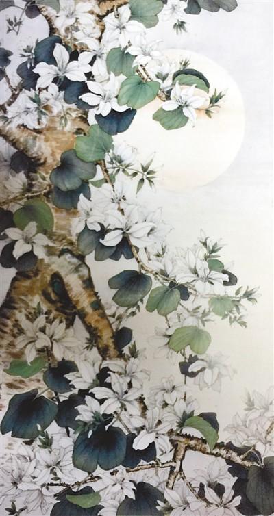 月下的白紫荆(中国画) 关 怡 《 人民日报 》( 2017年05月06日   12 版) - weicuibai65 - 雕龙绣凤
