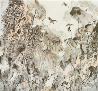 荷风送香(中国画) 潘小明 《 人民日报 》( 2017年06月19日   24 版) - weicuibai65 - 雕龙绣凤