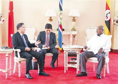 汪洋对乌干达进行正式友好访问