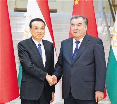 李克强会见塔吉克斯坦总统拉赫蒙