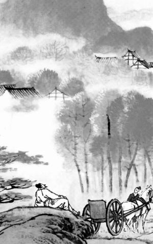 古诗巜山行》的简笔画