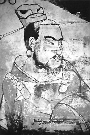 北齐娄叡墓壁画门吏图