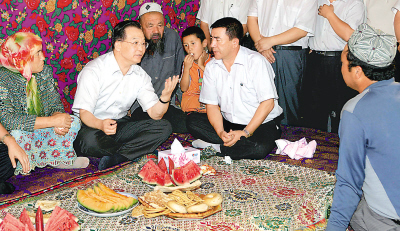 温家宝新疆问民情 图