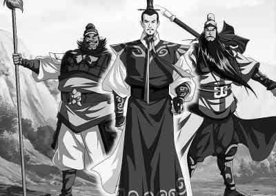 动画版《三国演义》中刘备、关羽、张飞的造型图片
