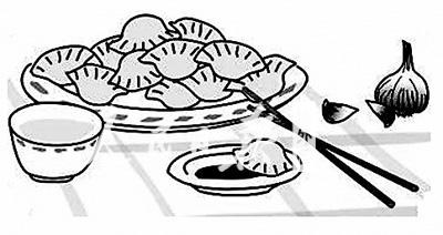 饺子简笔画-素馅饺子的故事