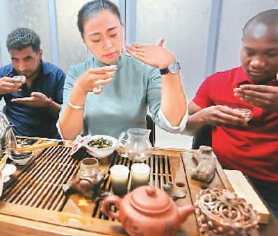 2016年4月16日,外国游客在安徽省庐江县茶文化园游览。 周跃东摄(人民视觉)