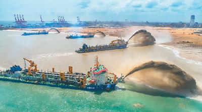 科伦坡港口城填海造地完工