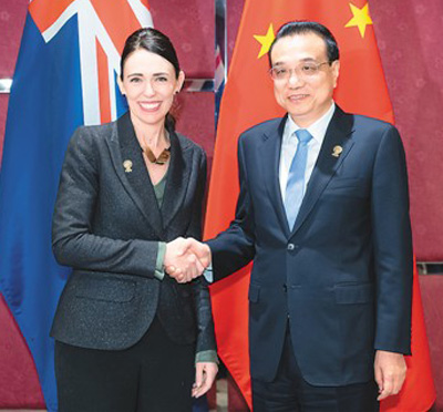 李克强分别会见澳大利亚总理莫里森、日本首相安倍晋三、新西兰总理阿德恩、美国总统国家安全事务助理奥布莱恩