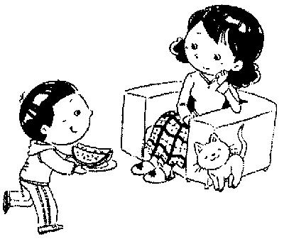 可爱的小孩子送花给妈妈简笔画