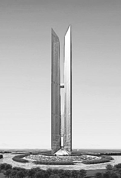 正在建设中的仁川双塔(层高151层)模型