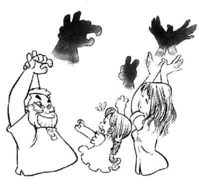 我的手太小,我只会表演小兔子不停地摇动两只长耳朵.