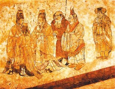 古代人物街头场景壁画