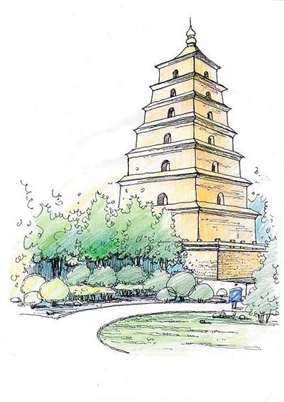西安大雁塔手绘图