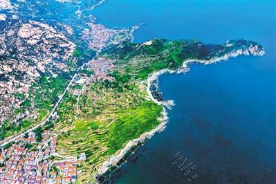 无人机拍摄的山东青岛崂山区雕龙嘴村.